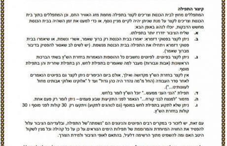 הנחיות לתפילות הימים הנוראים בצל הקורונה